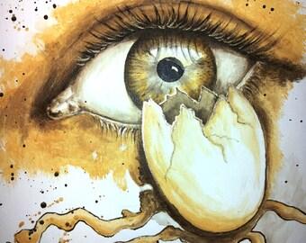 Egg eye acrylic painting, acrylic, eye, human, abstract, surreal, original
