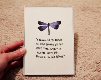 Dragonfly Original Watercolor w/Quote