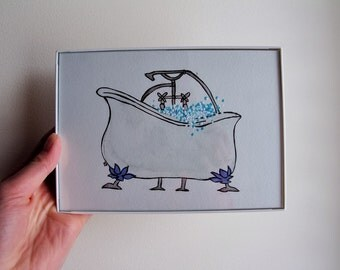 Bathtub Original Watercolor