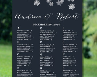 Printable Wedding Seating Chart, Winter Wedding Seating Chart, Alphabetical Seating Chart, Navy Seating Chart, Snowflakes Seating Chart