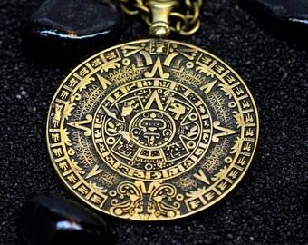 Aztec necklace etsy aztec calendar sun stone solar necklace mexica calendar mesoamerican aztec necklace tenotchitlane bronze handmade pendant aloadofball Image collections