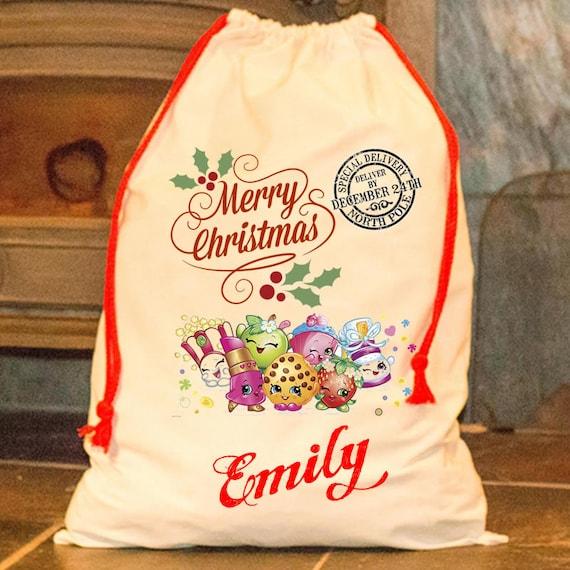 Large Personalised Santa Sack Shopkins Merry Xmas Father Christmas Stocking