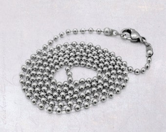 "4 x 60cm (23.5"") Stainless Steel 2.5mm Ball Chain Necklaces with Lobster Clasp"