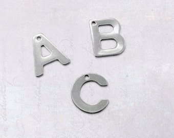1 x Full Set Stainless Steel Alphabet Charms - 26 Piece Initial Letter Pendants