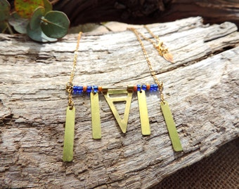 Ethnic Necklace, bohemian, glass beads, blue, geometric, graphic, gold