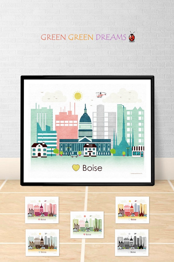 home decor stores boise idaho boise poster print wall boise skyline idaho print city 12440