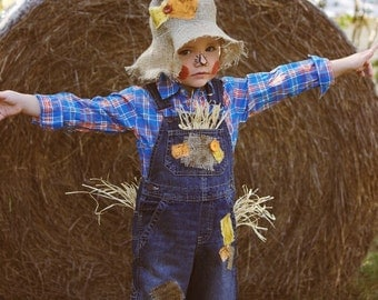 Custom Scarecrow Costume w/ Custom Hat (sizes up to 5t)