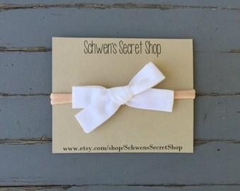 White fabric bow headband, hand tied bow, baby girl headband, nylon headband, baby headband, baby girl bow, infant headband, white baby bow