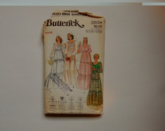 Butterick 5938 Tiered Wedding Dress Sewing Pattern 1970s Size 16