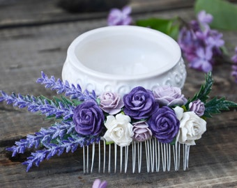 Bridal Hair comb, lavender hair comb, Wedding  hair comb, Bridal comb, Bridal headpiece, Flowers hair comb.