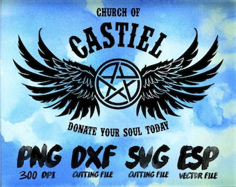 Church of CASTIEL Super natural Clipart , SVG Cutting , ESP Vectors files , T shirt , iron on , sticker ,Personal Use