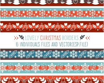 Lovely christmas borders collection Clipart, Digital Download ,Quotes Scrapbooking, Supplies, Vectors files ,Personal Use