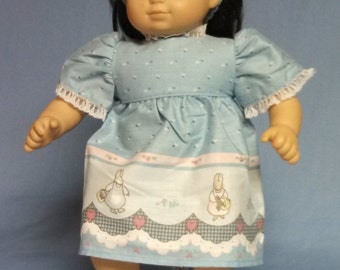 Bunny print dress for Bitty Baby / Bitty Twin Size Doll.   B40