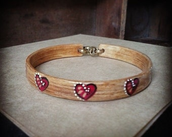 Bamboo Bangle Bracelet, Hand Shaped, Hand Painted and Stained. HEARTS