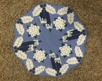 Hand Stitched Blue Wool Candle Mat Embellished With Beads