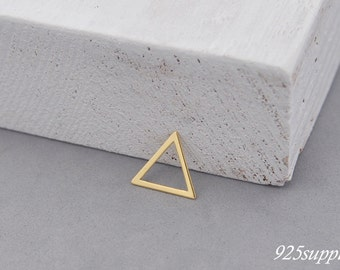 925 Sterling Silver triangle gold plated, silver triangle, triangle pendant, triangle charms, little triangle, triangle outline, narrow