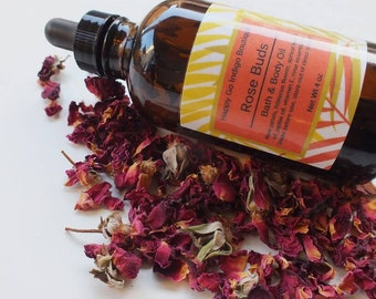 Rose Buds | Bath & Body Oil  4oz | All Natural Body Oil | Natural Bath Oil | Vegan Body Oil |Moisturizing Body Oil |After Shower Body Oil