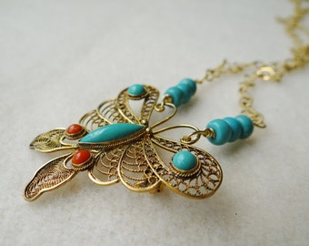 1970's Vintage Faux Turquoise and Coral Filigree Butterfly Brooch Assemblage Necklace - NRU255