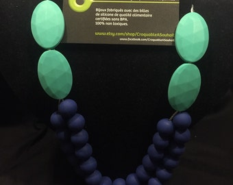 Necklace silicone/teething necklace - Turquoise double