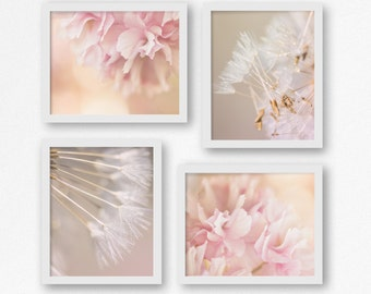 Set of Four, Floral Picture, Dandelion photo, pink flower picture, Macro flower, macro art, fine art photography, Pink floral nursery,