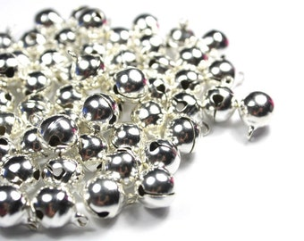 6mm Silver Jingle Bells - Silver Bells - Silver Plated Beads