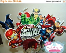 ON SALE Super Heroes Squad centerpiece, set of 9 characters and 1 logo, Super Heroes Squad