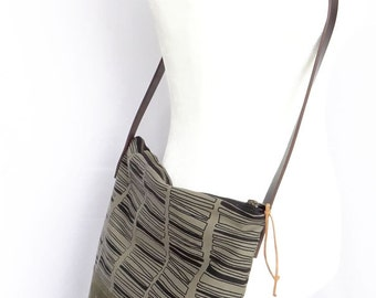 Hand Printed Crossbody With Olive Waxed Leather - Stacked Rectangles