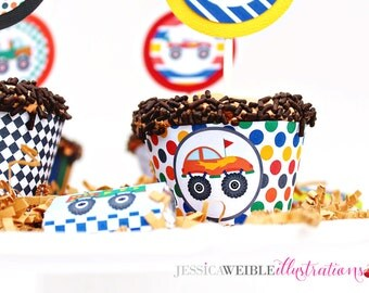 Monster Truck Printable Cupcake Wrappers, Cupake Wraps, Monster Truck Party Printables, Truck Cupcake Wrappers, Truck Party