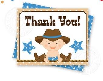 Blue Cowboy Baby Printable Thank You, 4X5 Thank You Note, Printable Thank You, Cowboy Baby Shower Thank You Card, Folding, Download