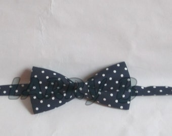 dark blue polka dot bow tie