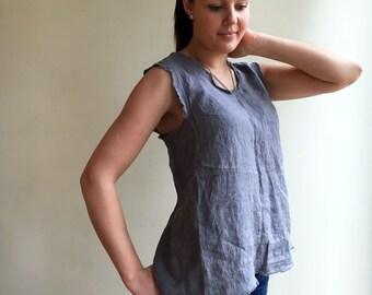 Linen Tank Top, Summer Tee, Womens Top, Sleeveless Top, Linen T Shirt, Linen Tee, Plus size shirt, Boho summer top