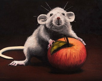 Rat Mini Painting-a cute grey. rat-Rat art -Animal Painting -kitchen decor-Mouse Painting.discount.coupon.Art & Collectibles