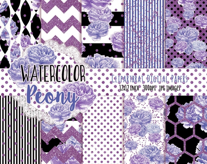 PURPLE WATERCOLOR FLORAL Digital Paper Pack Black & White Commercial Use Backgrounds Peony Stripe Shabby Chic Flower Scrapbook Paper Pack