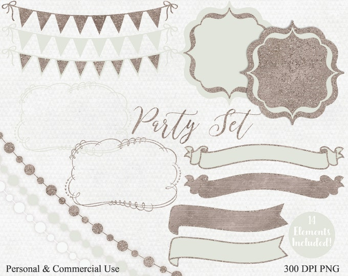 MINT PARTY Clipart Commercial Use Clip Art Titanium Gold Glitter Banner Bunting Frame Birthday Planner Shower Wedding Invitation Clip Art