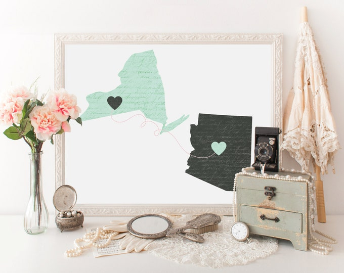 PERSONALIZED STATE to STATE Digital Art Print Digital Print Mix & Match Couples 2 State Print Love Art Wedding Gift Two States Connection