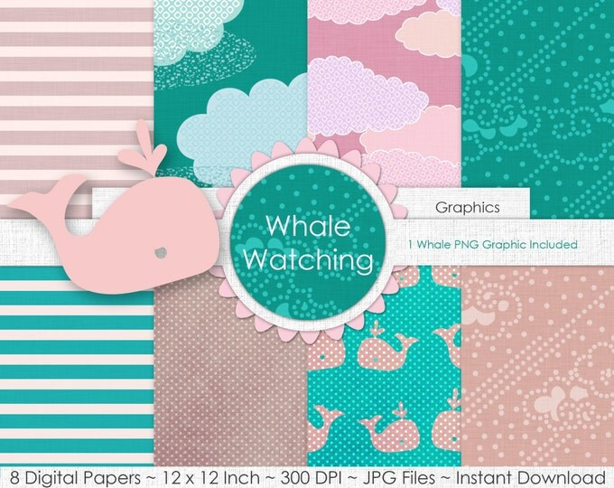 BLUSH & AQUA WHALE Digital Paper Pack Commercial Use Digital Backgrounds Aqua and Pink Clouds Stripes Whale Nautical Party Printable Paper