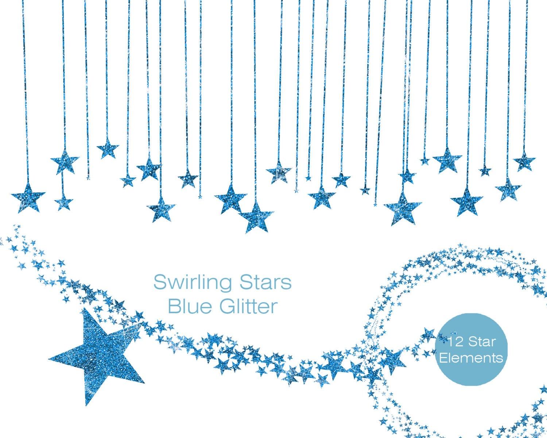 BLUE GLITTER STARS Clipart Commercial Use Clipart Sky Blue Glitter ...