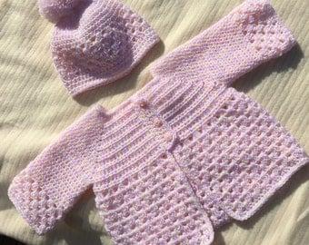 PDF Crochet Pattern - Baby Jacket and Pom Pom Beanie - 3 - 6 months