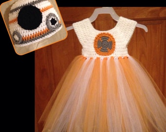 Crochet BB-8 Inspired Tutu Dress Costume Set