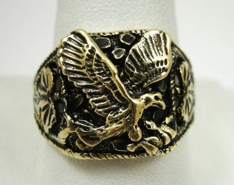 NEW Solid 10K Yellow Gold Blackened Eagle Nugget Ring Size 10 Size 11, 6.4 grams