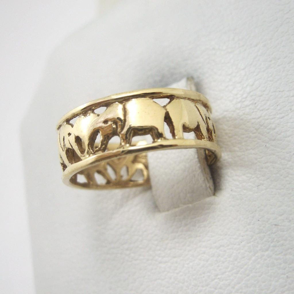 new solid 14k yellow gold elephant ring handmade 2 3