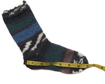 Toddler socks, hand knit socks, warm cosy socks, wool socks, winter socks, knitted socks, house socks, unique socks, green blue socks