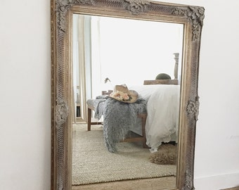 Hollywood regency mirror white for sale vintage inspired extra - White wood framed bathroom mirrors ...