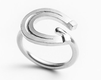 "Equestrian ring ""Big horse shoe"" in silver sterling 925"