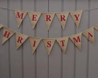 Merry Christmas Burlap Banner, Merry Christmas Bunting, Christmas Decor, Holiday Decor, Burlap Bunting Garland, Rustic Christmas, Photo Prop