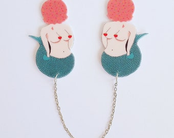 Mermaid collar clips // shrink plastic // mermaid icecream sweater clips // strawberry // quirky // cardigan clips // gift for her