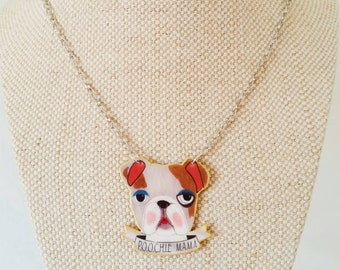 """Illustrated """"Poochie Mama"""" necklace // statement jewelry // Shrink plastic necklace // shrink plastic jewelry // quirky jewelry"""