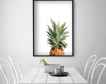 Pineapple Poster Tropical Digital Print Fruit Poster Fruit Print Pineapple Wall Art Kitchen Prints Vegetable Printable Kitchen Decor Nursery