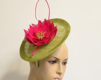 Green disc with Fuchsia flower Sinamay Fascinator, Kentucky Derby Hat, Wedding Hat, Formal Hat, Church Hat