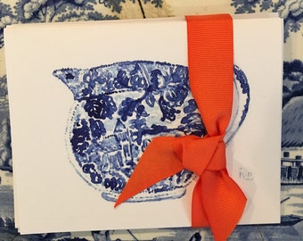 Blue and white transferware jug  cards